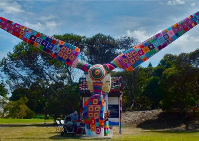Wind Turbine Yarnbombing for Festival of the Wind